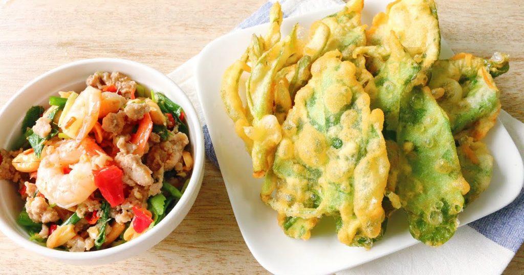 ยำผักบุ้งกุ้งสุก  อาหารรสแซ่บที่คนท้องกินได้
